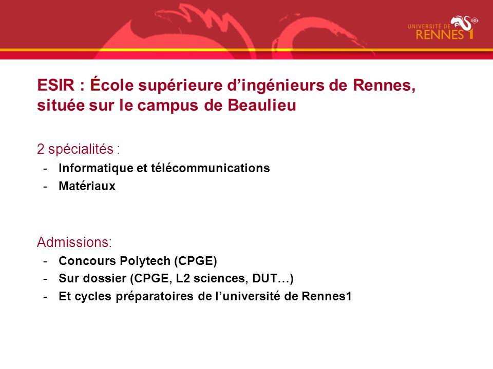 ESIR : École supérieure dingénieurs de Rennes, située sur le campus de Beaulieu 2 spécialités : -Informatique et télécommunications -Matériaux Admissi