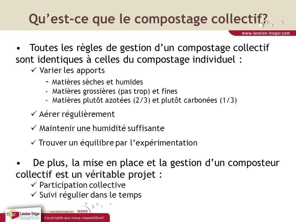 Quest-ce que le compostage collectif? Toutes les règles de gestion dun compostage collectif sont identiques à celles du compostage individuel : Varier