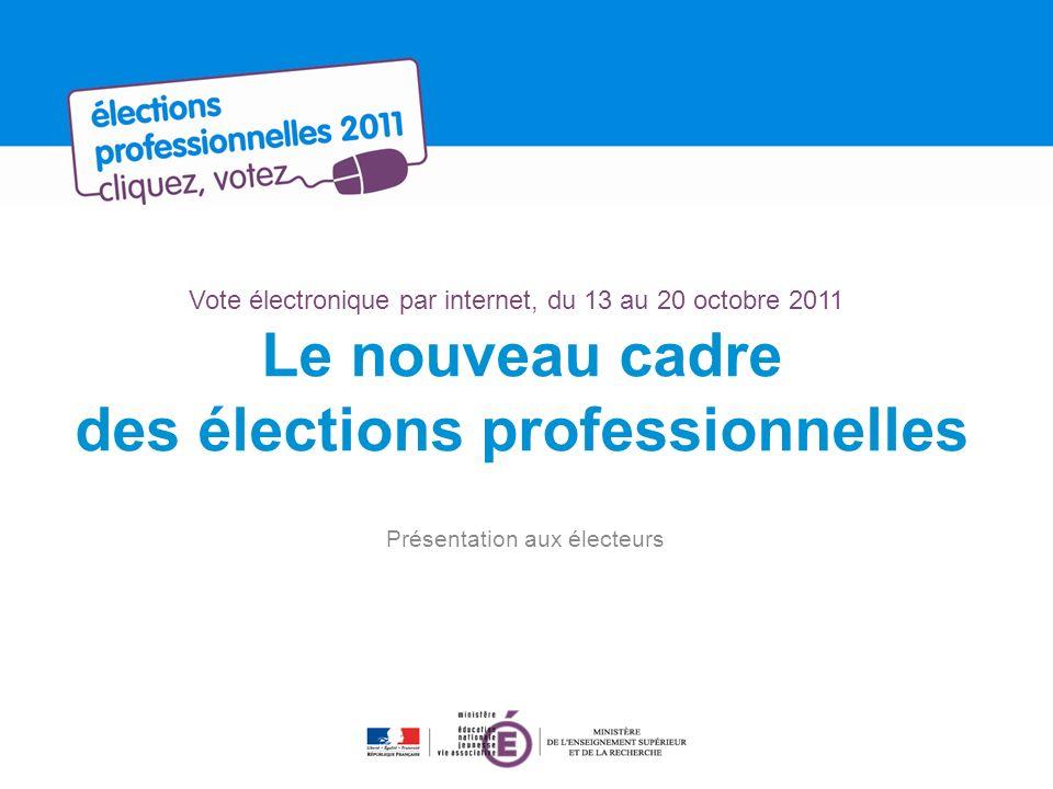 Vote électronique par internet, du 13 au 20 octobre 2011 Le nouveau cadre des élections professionnelles Présentation aux électeurs