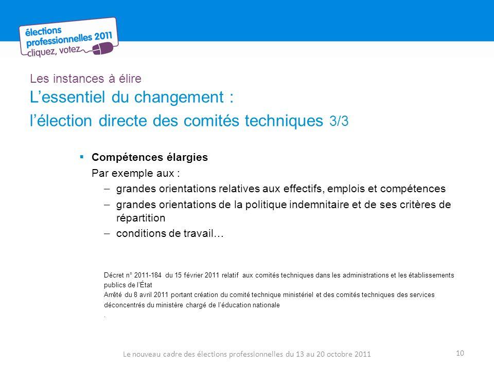 Les instances à élire Lessentiel du changement : lélection directe des comités techniques 3/3 Compétences élargies Par exemple aux : –grandes orientat