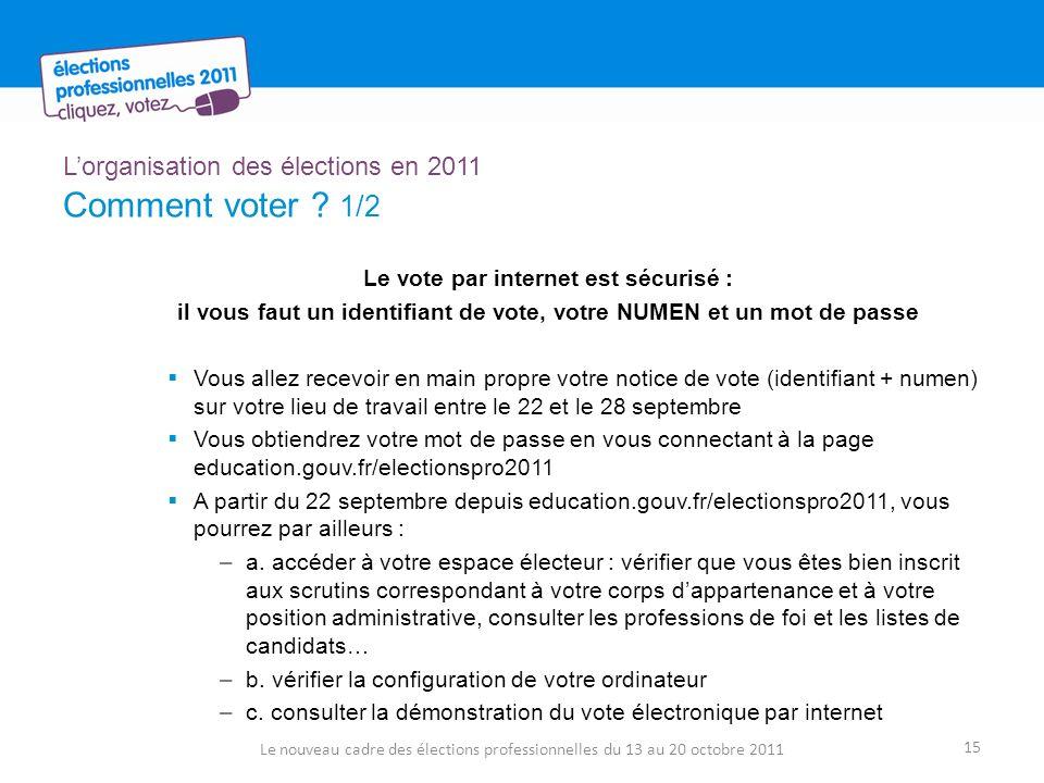 Lorganisation des élections en 2011 Comment voter ? 1/2 Le vote par internet est sécurisé : il vous faut un identifiant de vote, votre NUMEN et un mot
