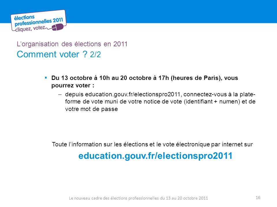 Lorganisation des élections en 2011 Comment voter ? 2/2 Du 13 octobre à 10h au 20 octobre à 17h (heures de Paris), vous pourrez voter : –depuis educat
