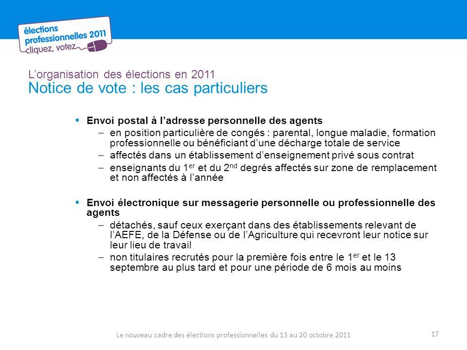Lorganisation des élections en 2011 Notice de vote : les cas particuliers Envoi postal à ladresse personnelle des agents –en position particulière de