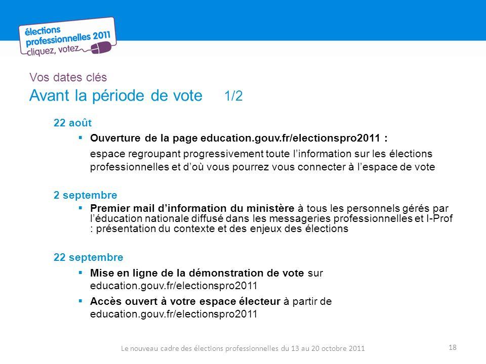 Vos dates clés Avant la période de vote 1/2 22 août Ouverture de la page education.gouv.fr/electionspro2011 : espace regroupant progressivement toute