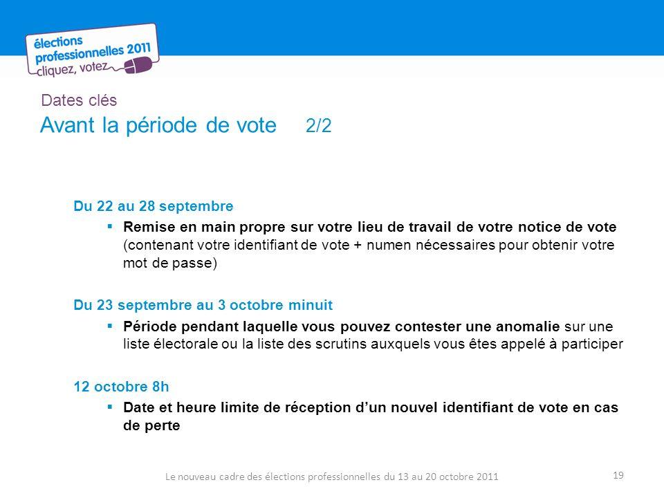 Dates clés Avant la période de vote 2/2 Du 22 au 28 septembre Remise en main propre sur votre lieu de travail de votre notice de vote (contenant votre