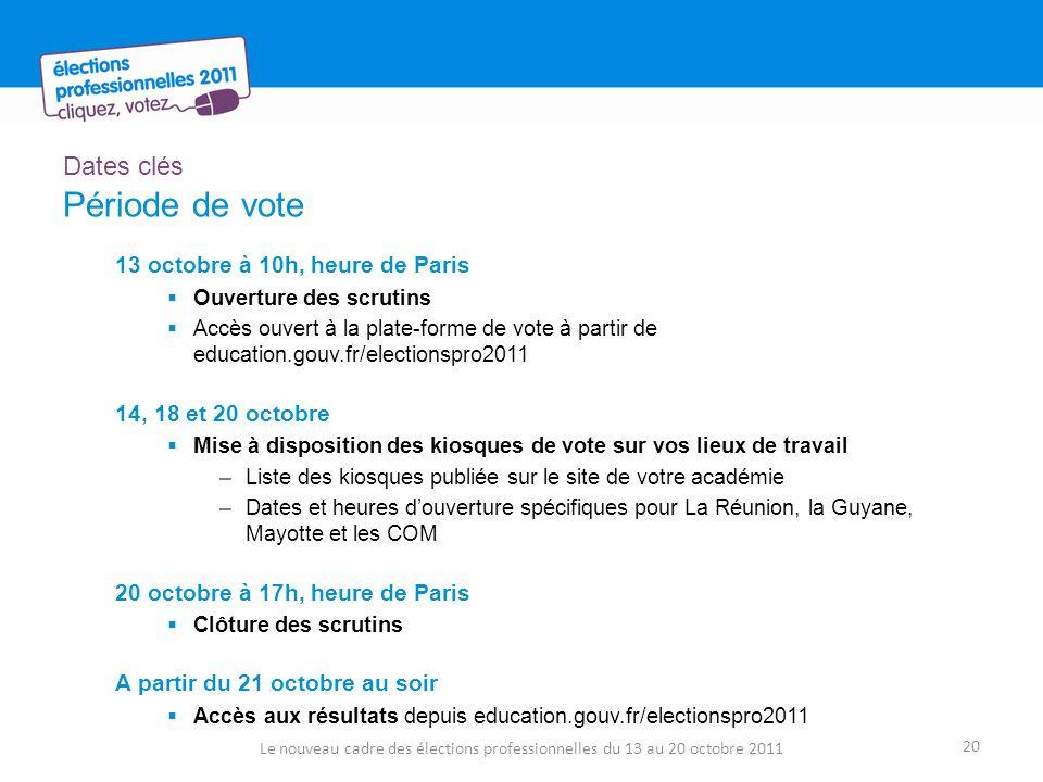 Dates clés Période de vote 13 octobre à 10h, heure de Paris Ouverture des scrutins Accès ouvert à la plate-forme de vote à partir de education.gouv.fr