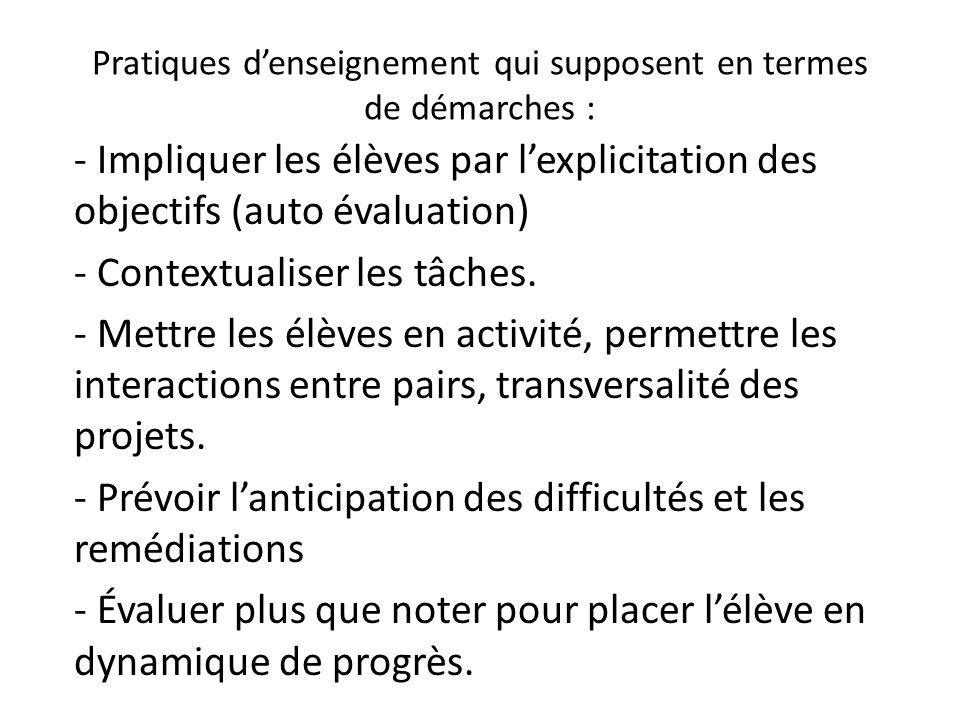 Pratiques denseignement qui supposent en termes de démarches : - Impliquer les élèves par lexplicitation des objectifs (auto évaluation) - Contextuali