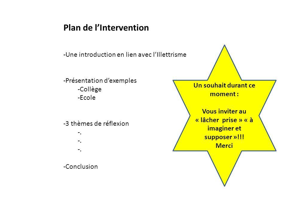 Plan de lIntervention -Une introduction en lien avec lIllettrisme -Présentation dexemples -Collège -Ecole -3 thèmes de réflexion -. -Conclusion Un sou