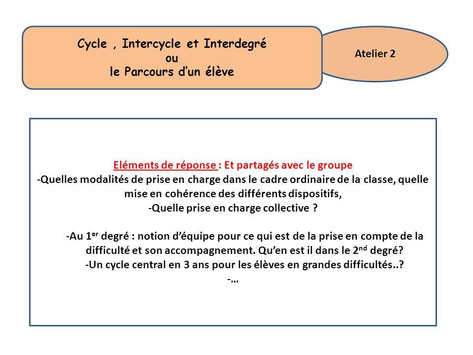 Atelier 2 Cycle, Intercycle et Interdegré ou le Parcours dun élève Eléments de réponse : Et partagés avec le groupe -Quelles modalités de prise en cha