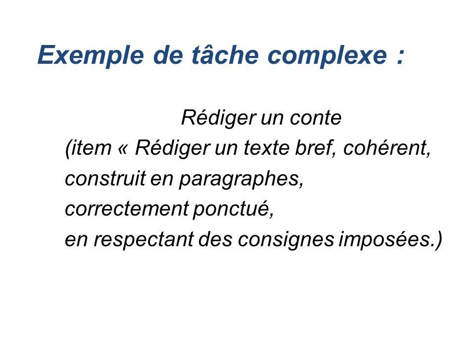 Exemple de tâche complexe : Rédiger un conte (item « Rédiger un texte bref, cohérent, construit en paragraphes, correctement ponctué, en respectant de