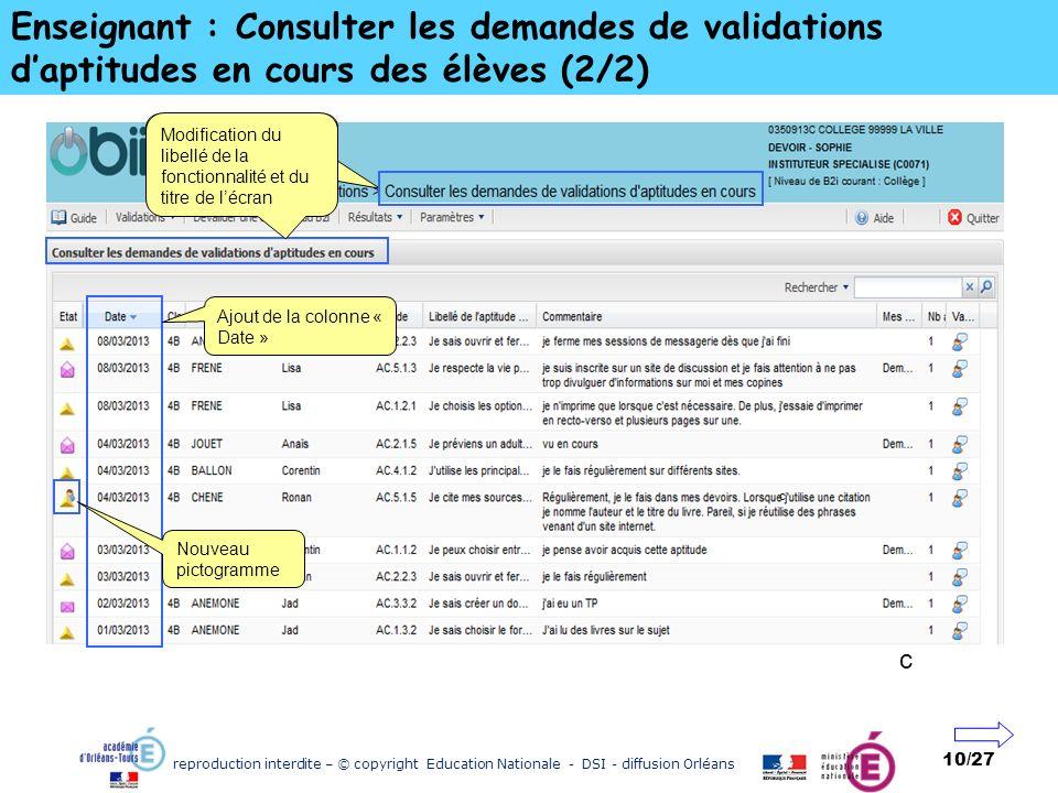 reproduction interdite – © copyright Education Nationale - DSI - diffusion Orléans 10/27 Enseignant : Consulter les demandes de validations daptitudes