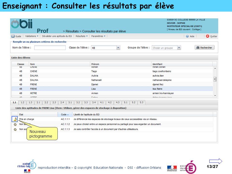 reproduction interdite – © copyright Education Nationale - DSI - diffusion Orléans 13/27 Enseignant : Consulter les résultats par élève Nouveau pictog