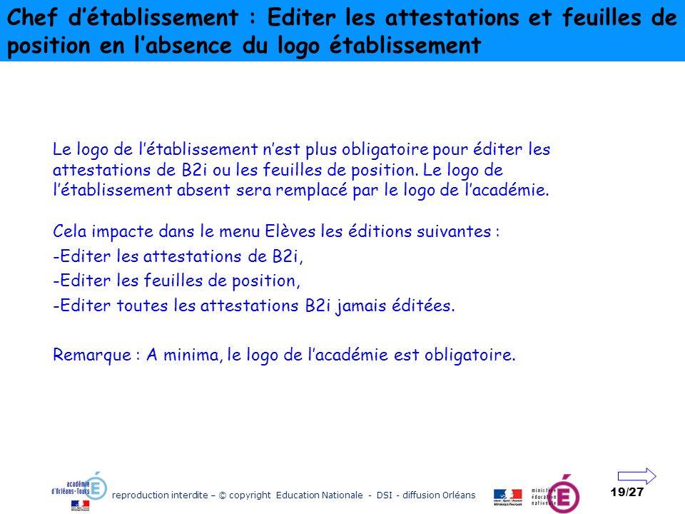 reproduction interdite – © copyright Education Nationale - DSI - diffusion Orléans 19/27 Chef détablissement : Editer les attestations et feuilles de