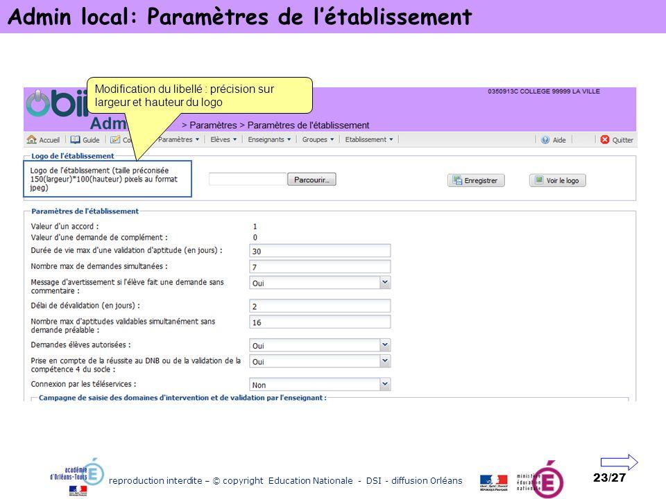 reproduction interdite – © copyright Education Nationale - DSI - diffusion Orléans 23/27 Admin local: Paramètres de létablissement Modification du lib