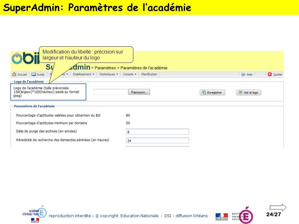 reproduction interdite – © copyright Education Nationale - DSI - diffusion Orléans 24/27 SuperAdmin: Paramètres de lacadémie Modification du libellé :