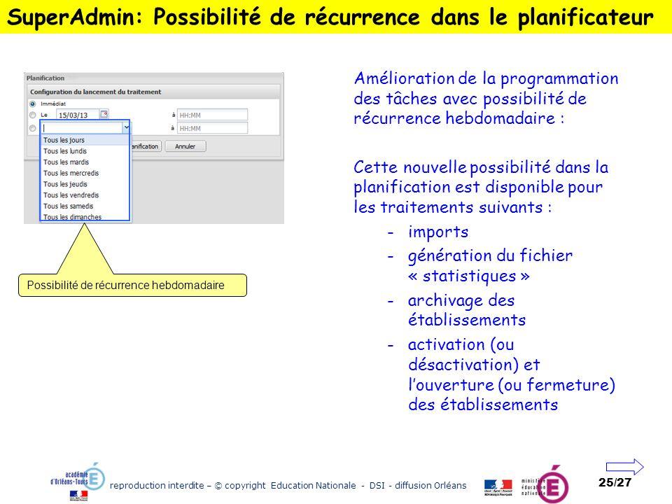 reproduction interdite – © copyright Education Nationale - DSI - diffusion Orléans 25/27 SuperAdmin: Possibilité de récurrence dans le planificateur A