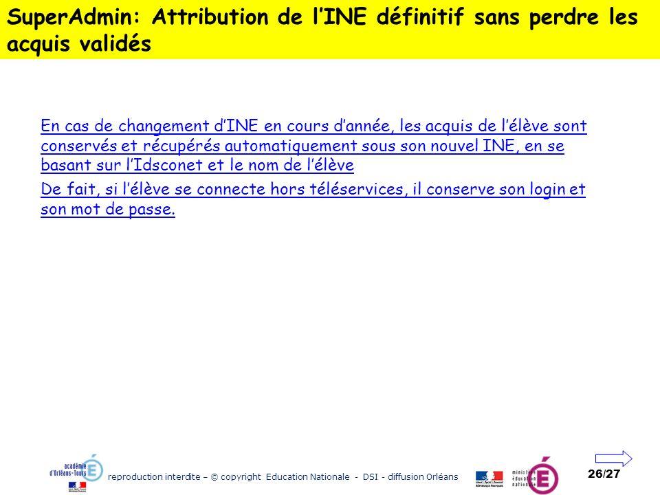 reproduction interdite – © copyright Education Nationale - DSI - diffusion Orléans 26/27 SuperAdmin: Attribution de lINE définitif sans perdre les acq