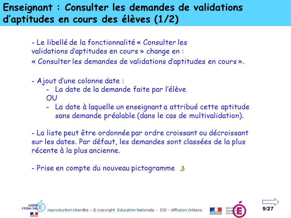 reproduction interdite – © copyright Education Nationale - DSI - diffusion Orléans 9/27 Enseignant : Consulter les demandes de validations daptitudes