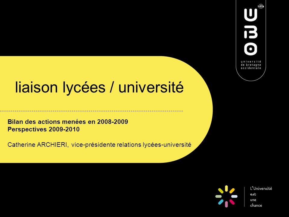 liaison lycées / université Bilan des actions menées en 2008-2009 Perspectives 2009-2010 Catherine ARCHIERI, vice-présidente relations lycées-université