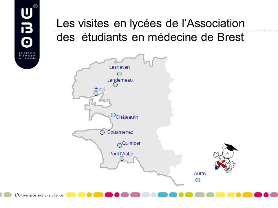 Les visites en lycées de lAssociation des étudiants en médecine de Brest Landerneau Lesneven Pont lAbbé Châteaulin Quimper Douarnenez Auray Brest