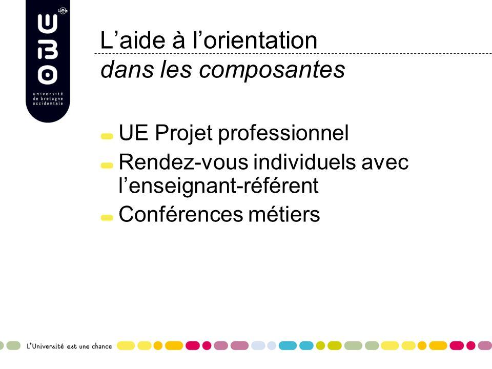 Laide à lorientation dans les composantes UE Projet professionnel Rendez-vous individuels avec lenseignant-référent Conférences métiers