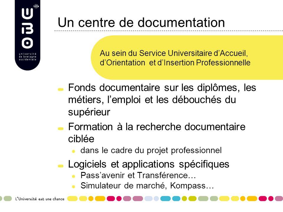 Un centre de documentation Fonds documentaire sur les diplômes, les métiers, lemploi et les débouchés du supérieur Formation à la recherche documentai