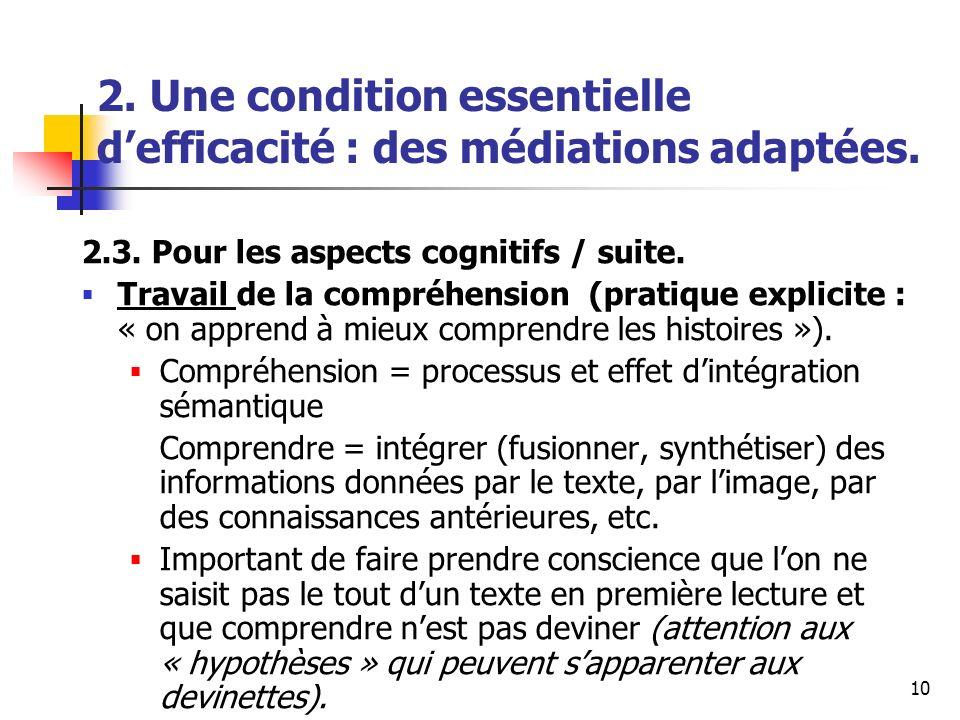 10 2. Une condition essentielle defficacité : des médiations adaptées. 2.3. Pour les aspects cognitifs / suite. Travail de la compréhension (pratique