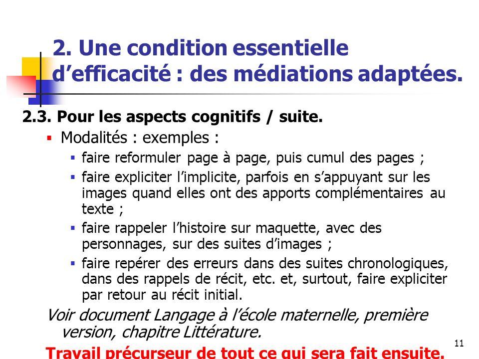 11 2. Une condition essentielle defficacité : des médiations adaptées. 2.3. Pour les aspects cognitifs / suite. Modalités : exemples : faire reformule