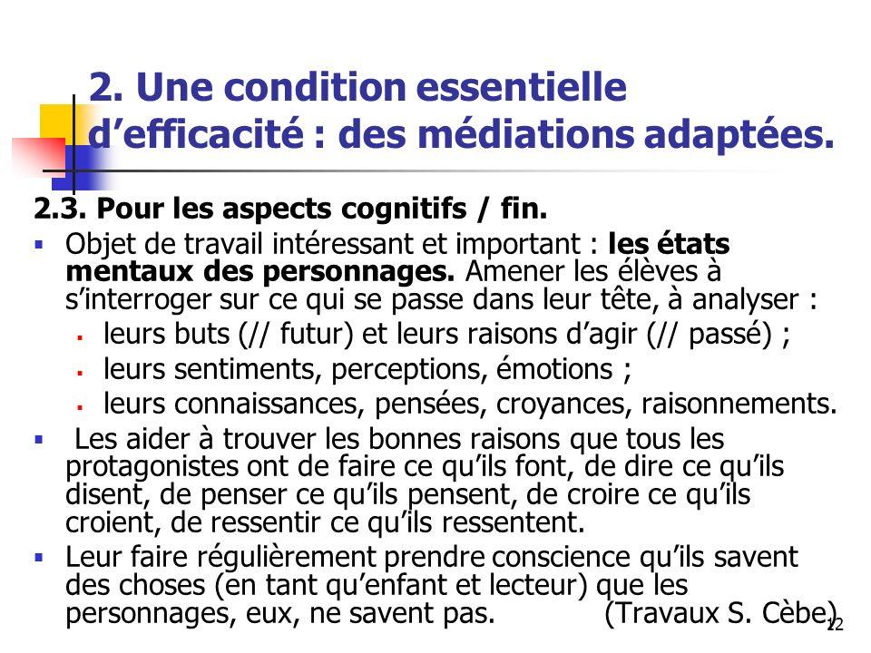 12 2. Une condition essentielle defficacité : des médiations adaptées. 2.3. Pour les aspects cognitifs / fin. Objet de travail intéressant et importan