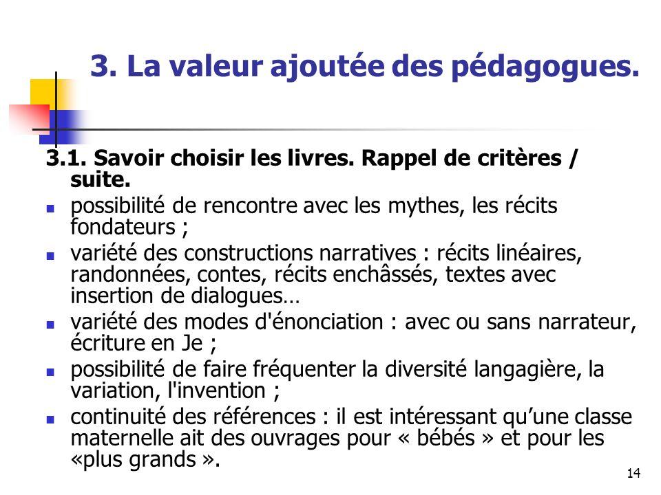 14 3. La valeur ajoutée des pédagogues. 3.1. Savoir choisir les livres. Rappel de critères / suite. possibilité de rencontre avec les mythes, les réci