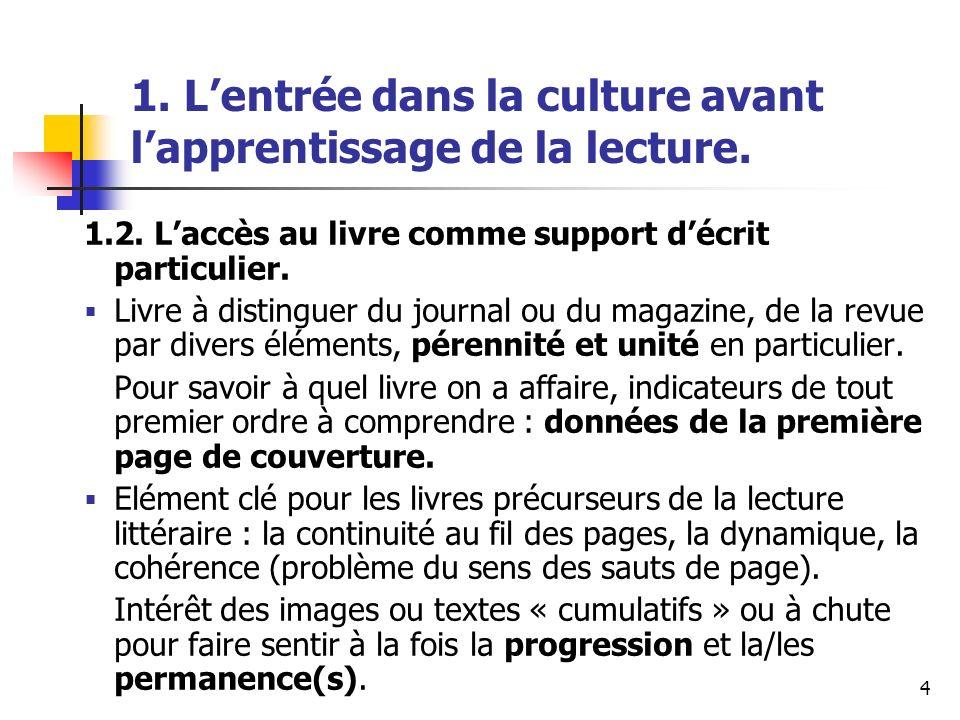 4 1. Lentrée dans la culture avant lapprentissage de la lecture. 1.2. Laccès au livre comme support décrit particulier. Livre à distinguer du journal