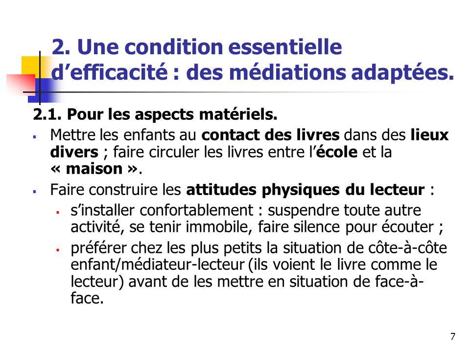 7 2. Une condition essentielle defficacité : des médiations adaptées. 2.1. Pour les aspects matériels. Mettre les enfants au contact des livres dans d