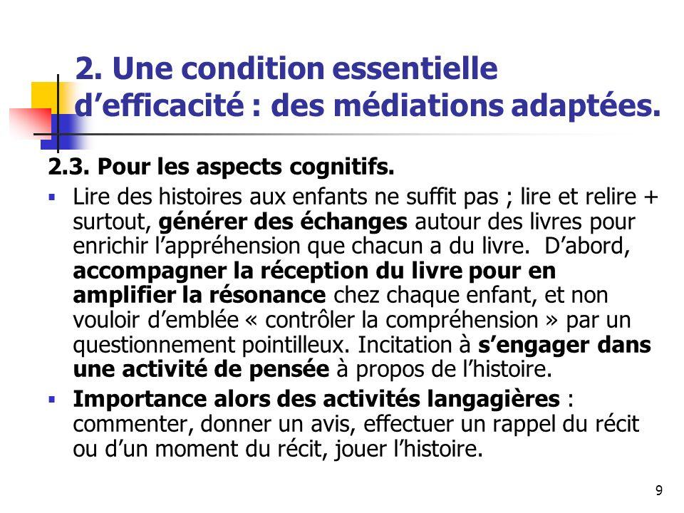9 2. Une condition essentielle defficacité : des médiations adaptées. 2.3. Pour les aspects cognitifs. Lire des histoires aux enfants ne suffit pas ;