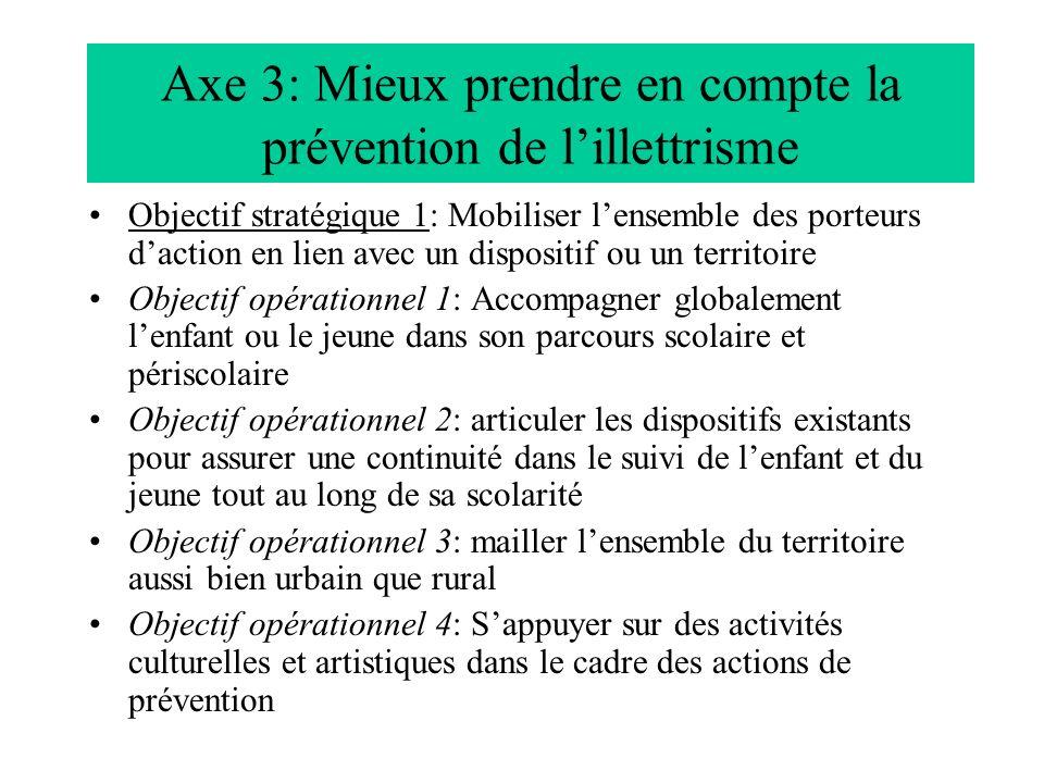 Axe 3: Mieux prendre en compte la prévention de lillettrisme Objectif stratégique 1: Mobiliser lensemble des porteurs daction en lien avec un disposit