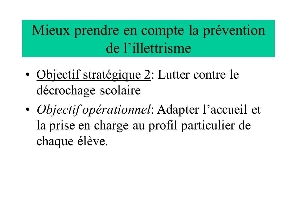 Mieux prendre en compte la prévention de lillettrisme Objectif stratégique 2: Lutter contre le décrochage scolaire Objectif opérationnel: Adapter lacc