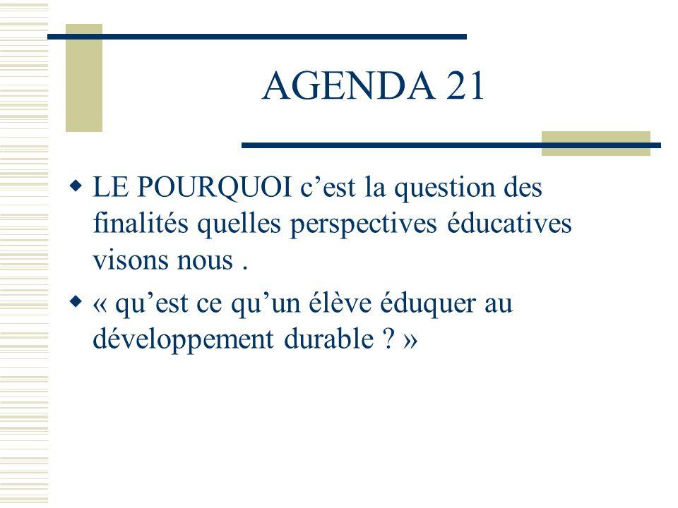 AGENDA 21 LE POURQUOI cest la question des finalités quelles perspectives éducatives visons nous. « quest ce quun élève éduquer au développement durab
