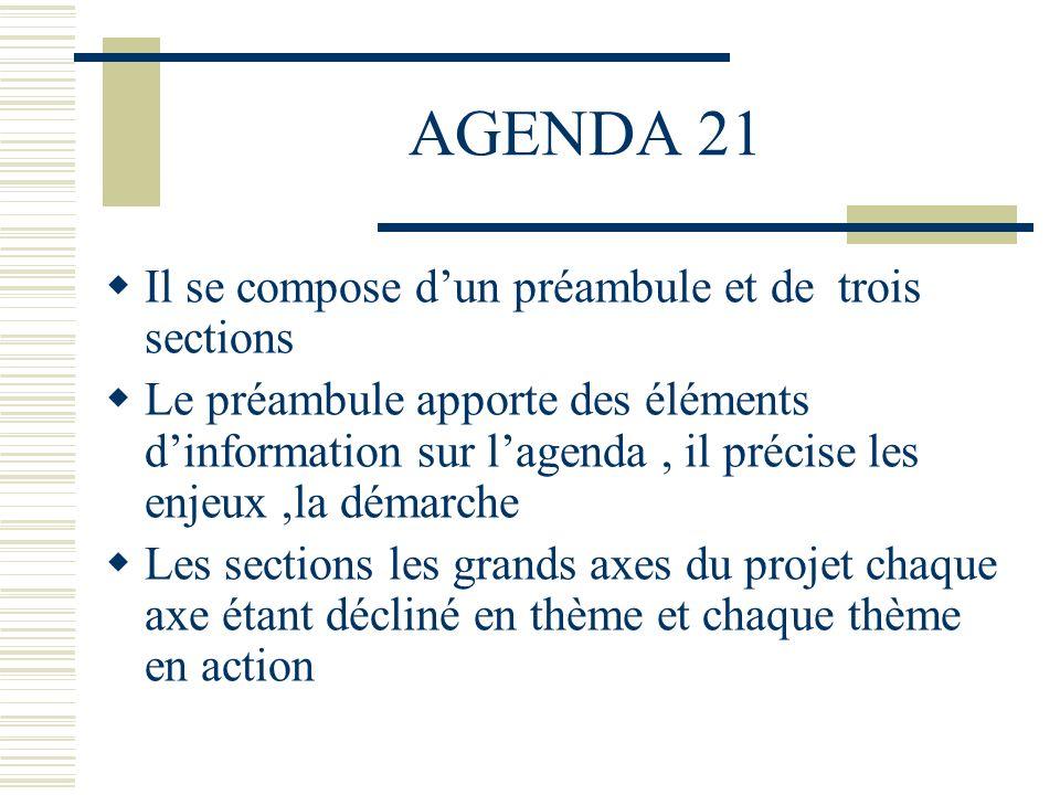 AGENDA 21 Il se compose dun préambule et de trois sections Le préambule apporte des éléments dinformation sur lagenda, il précise les enjeux,la démarc