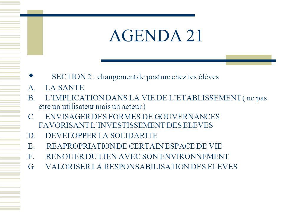 AGENDA 21 SECTION 2 : changement de posture chez les élèves A. LA SANTE B. LIMPLICATION DANS LA VIE DE LETABLISSEMENT ( ne pas être un utilisateur mai
