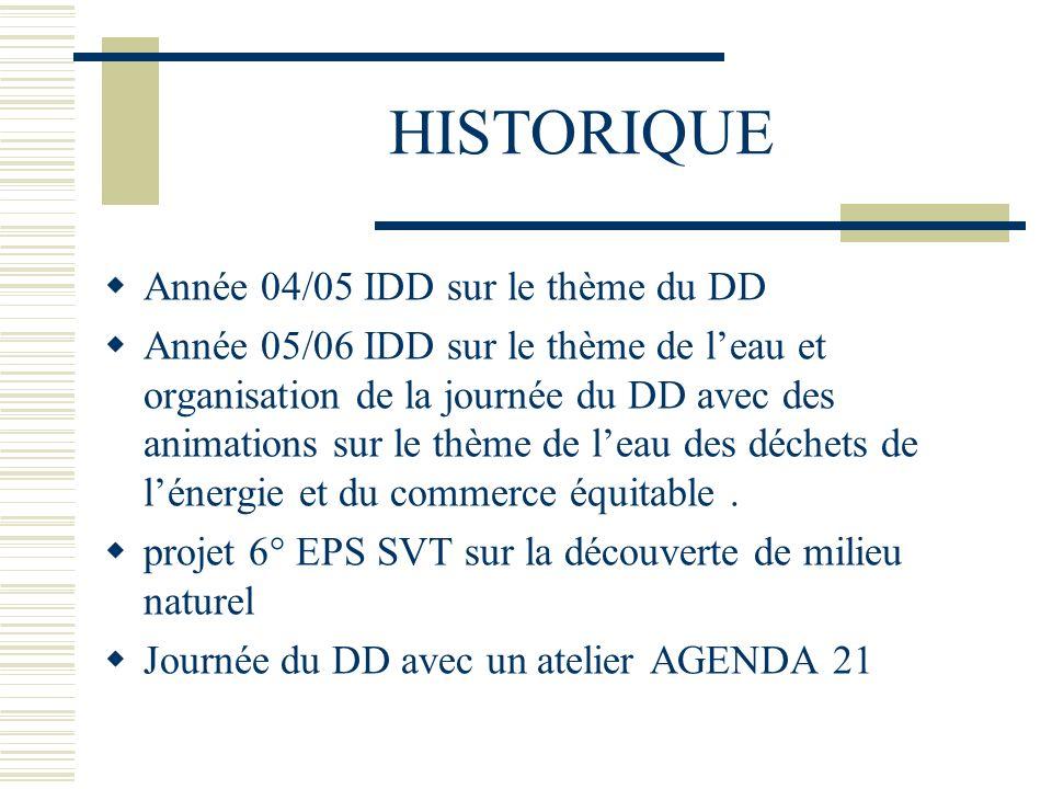 HISTORIQUE Année 04/05 IDD sur le thème du DD Année 05/06 IDD sur le thème de leau et organisation de la journée du DD avec des animations sur le thèm