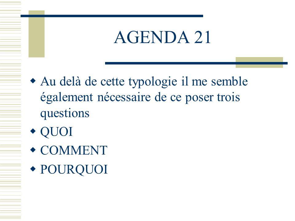 AGENDA 21 Au delà de cette typologie il me semble également nécessaire de ce poser trois questions QUOI COMMENT POURQUOI