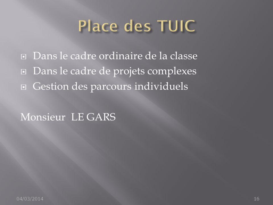 Dans le cadre ordinaire de la classe Dans le cadre de projets complexes Gestion des parcours individuels Monsieur LE GARS 04/03/201416