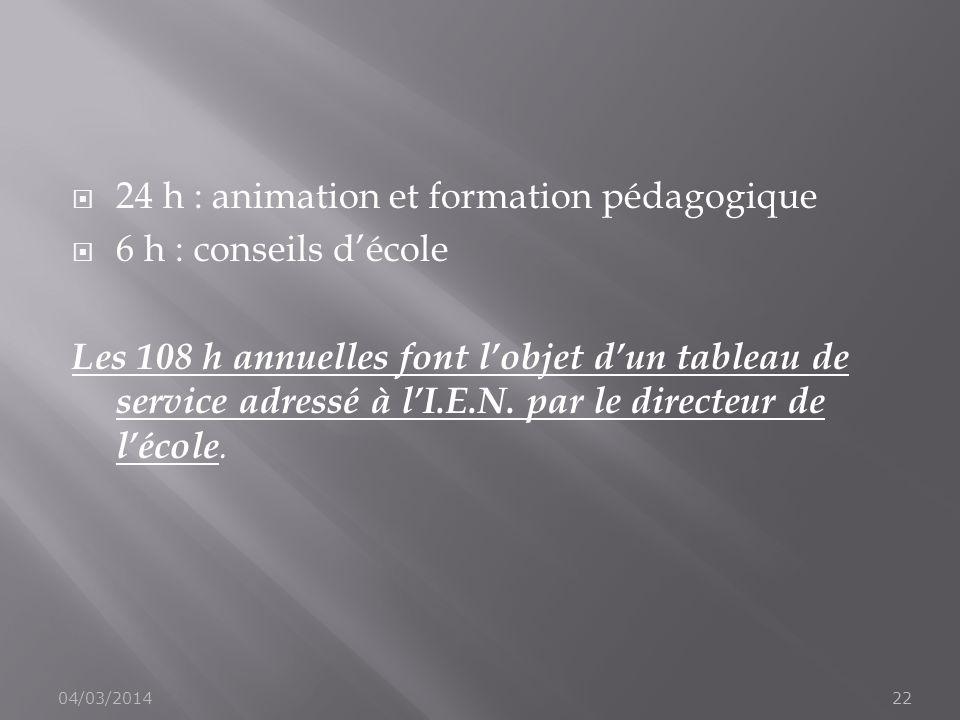 24 h : animation et formation pédagogique 6 h : conseils décole Les 108 h annuelles font lobjet dun tableau de service adressé à lI.E.N. par le direct