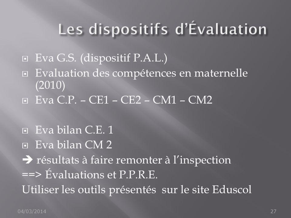 Eva G.S. (dispositif P.A.L.) Evaluation des compétences en maternelle (2010) Eva C.P. – CE1 – CE2 – CM1 – CM2 Eva bilan C.E. 1 Eva bilan CM 2 résultat