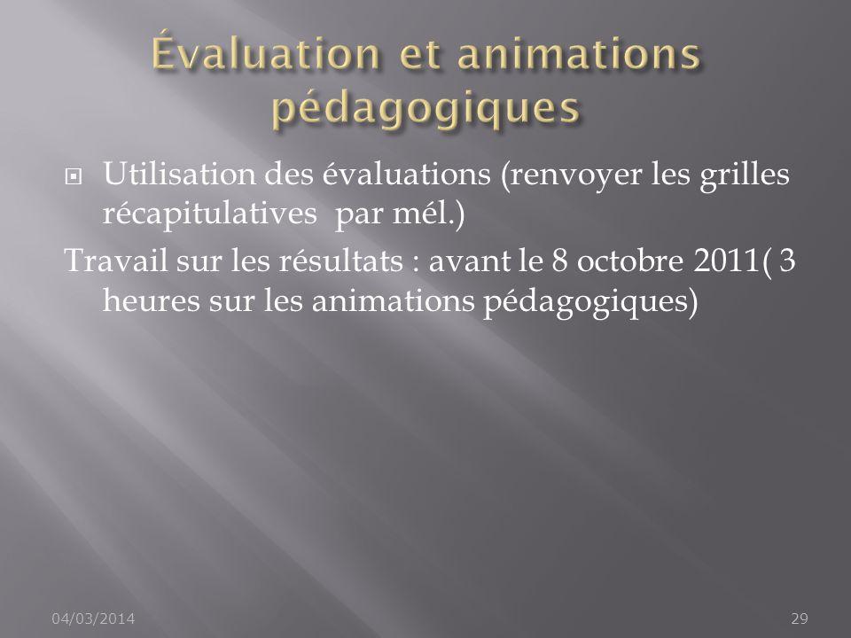 Utilisation des évaluations (renvoyer les grilles récapitulatives par mél.) Travail sur les résultats : avant le 8 octobre 2011( 3 heures sur les anim