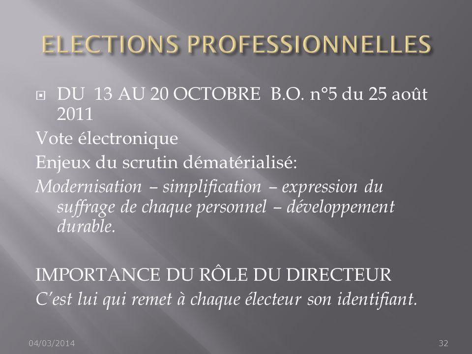 DU 13 AU 20 OCTOBRE B.O. n°5 du 25 août 2011 Vote électronique Enjeux du scrutin dématérialisé: Modernisation – simplification – expression du suffrag