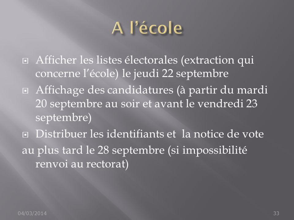 Afficher les listes électorales (extraction qui concerne lécole) le jeudi 22 septembre Affichage des candidatures (à partir du mardi 20 septembre au s