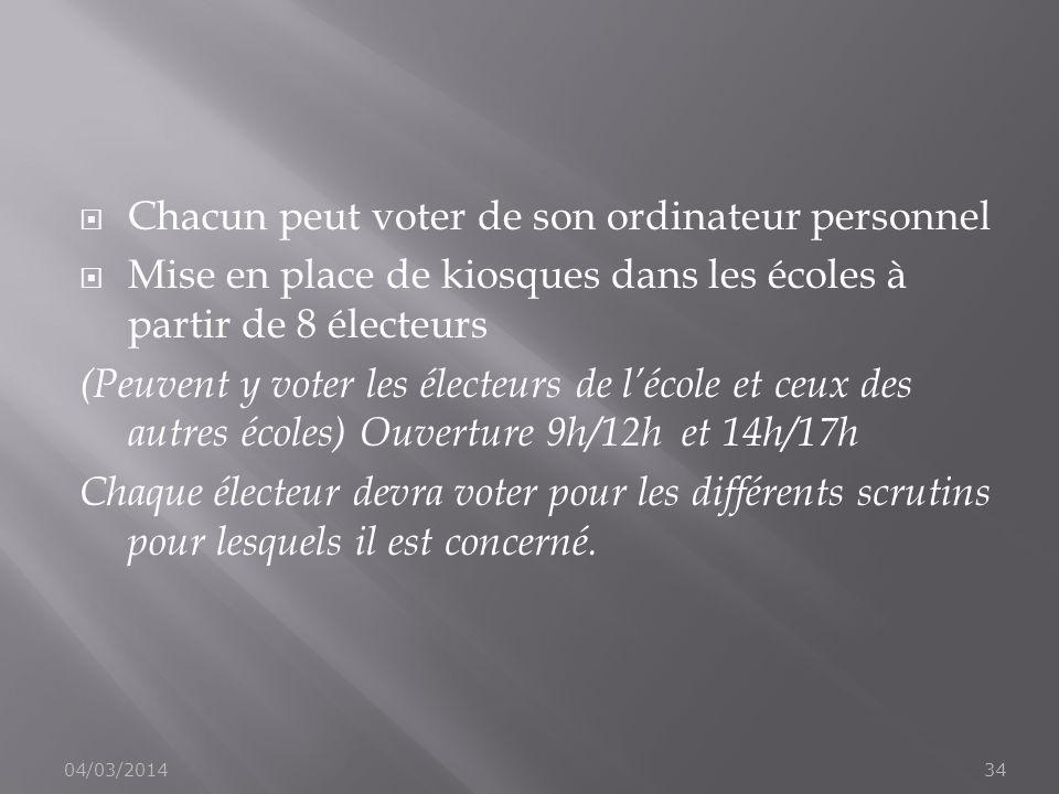 Chacun peut voter de son ordinateur personnel Mise en place de kiosques dans les écoles à partir de 8 électeurs (Peuvent y voter les électeurs de léco