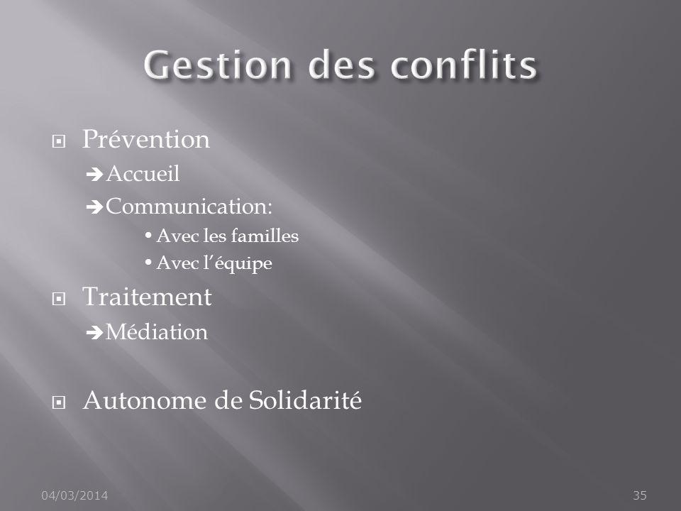 Prévention Accueil Communication: Avec les familles Avec léquipe Traitement Médiation Autonome de Solidarité 04/03/201435