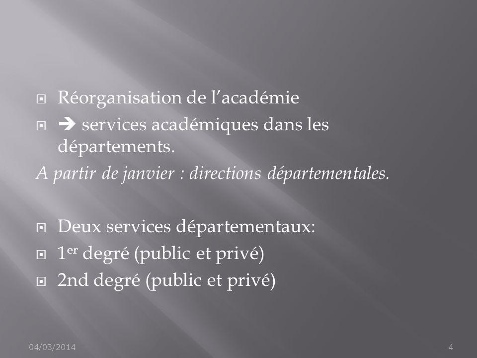Réorganisation de lacadémie services académiques dans les départements. A partir de janvier : directions départementales. Deux services départementaux