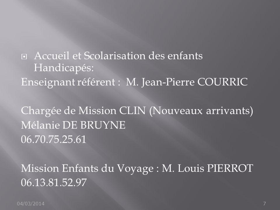 Accueil et Scolarisation des enfants Handicapés: Enseignant référent : M. Jean-Pierre COURRIC Chargée de Mission CLIN (Nouveaux arrivants) Mélanie DE